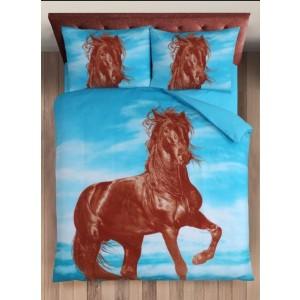 Dekbedovertrek Paarden Blauw